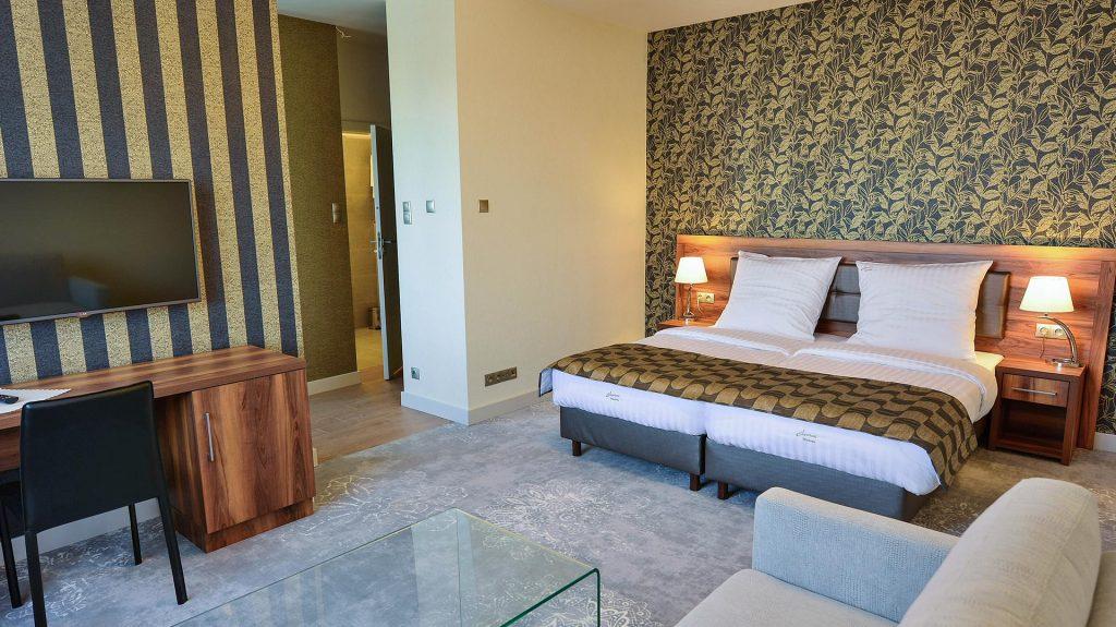 sypialnia w apartamencie Miodova