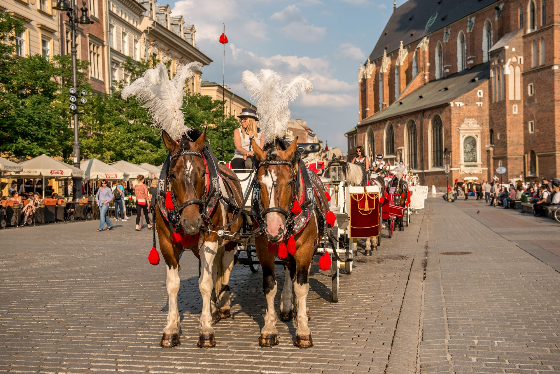 Carriage with horses, cobbled streets of Krakow